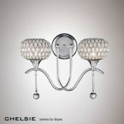 Chelsie Double Wall Light in Polished Chrome with Glass Shades - diyas IL31501